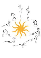 yoga sun salutation vector set