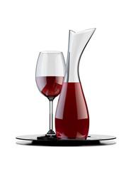 rotwein karaffe und glas