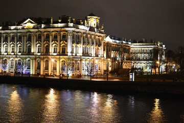 The State Hermitage Museum and Neva at night