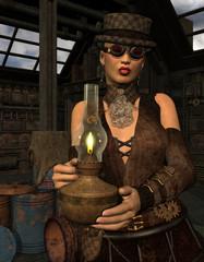 Frau im Steampunk Look mit Lampe