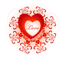 red heart with decorative pattern