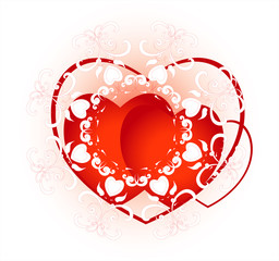 red heart with decorative  pattern and curl