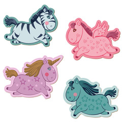 Set of Magic Horses and Unicorns - for scrapbook and design in v