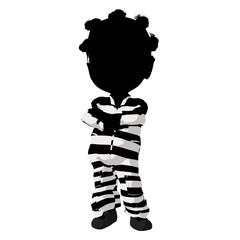 Little African American Criminal Girl Illustration