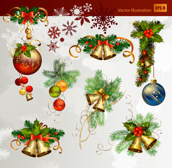 Christmas vector set of fir tree and evening balls