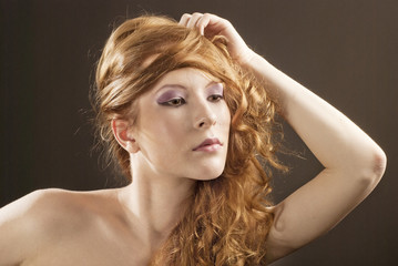 Beautiful red hair woman portrait