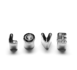 Love message made of chrome letters