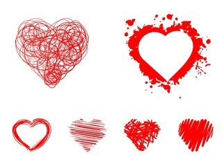 hand-drawn set of red hearts isolated on white