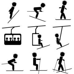 winter ski icon illustration