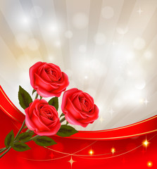 Valentine`s day background. Red roses and ribbons