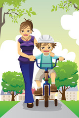 Mother teaching son biking