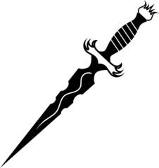 Vector illustration of a dagger tattoo