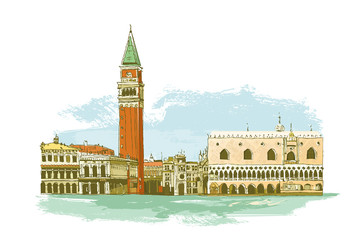 Venice in Italy. St Mark's Square, Doge's Palace
