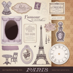 Foto op Plexiglas Doodle vector set: Paris - romantic ephemera and design elements
