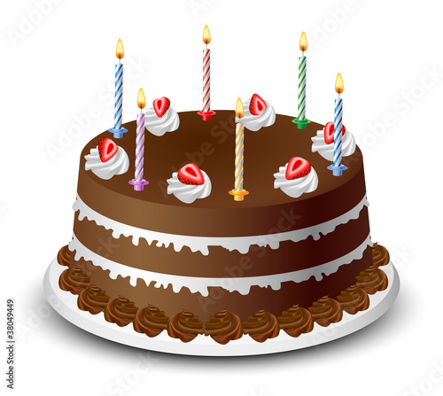 Chocolate Birthday Cake Stock Image And Royalty Free Vector Files