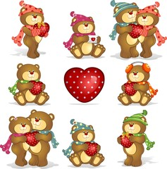 Acrylic Prints Bears Set- teddy bears heart