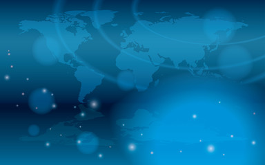 abstract background with bokeh and map of the world - eps 10