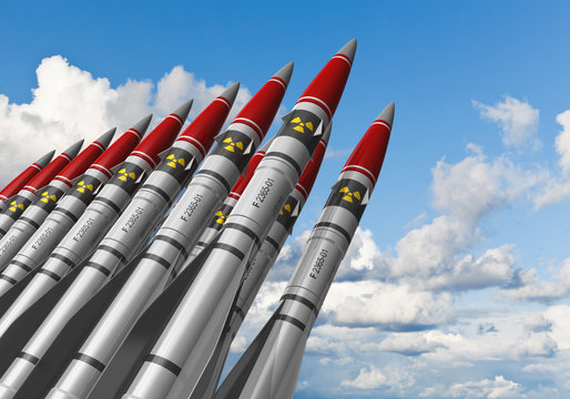 Nuclear missiles against blue sky