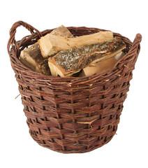 Runder Korb mit Brennholz