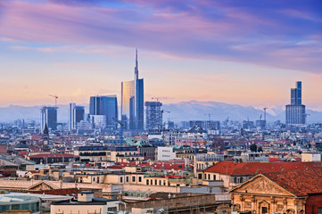 "Zelfklevend Fotobehang Milan View of Milan`s business district from ""Duomo di Milano""."