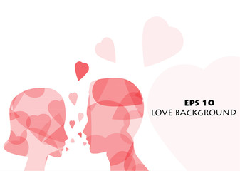Love background with lovers silhouettes