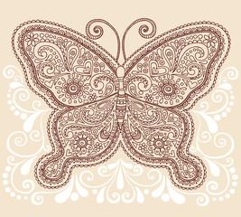 Butterfly Henna Doodle Vector Illustration