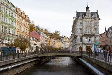 bridge over river in carlsbad, Czech republic