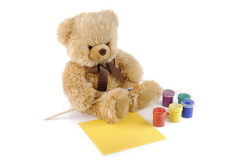 Teddy bear painting colors isolated on white