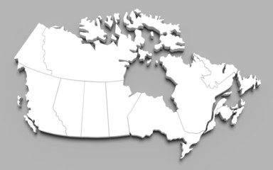 Canada map on gray