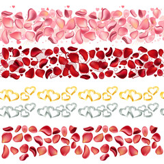 Seamless borders made of rose petals on white