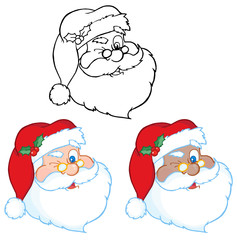 Santa Claus Winking Classic Cartoon