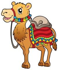 Cartoon camel with saddlery