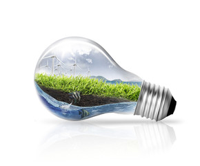 energy saving earth light  collection on white background