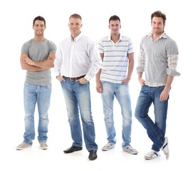 Full-length portrait of group of young men