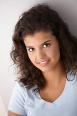 Portrait of attractive schoolgirl smiling