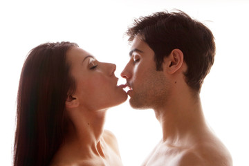 Couple Enjoying Erotic Kiss