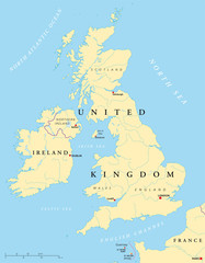 Ireland and United Kingdom political map with Northern Ireland, Guernsey, Jersey and Isle of Man and with capitals. Illustration. Vector.