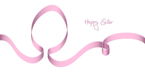 "Pink Bow Easter Egg ""Happy Easter"""