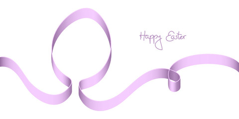 "Purple Bow Easter Egg ""Happy Easter"""