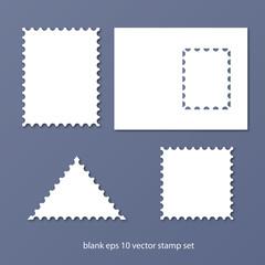 postal stamp set vector illustration
