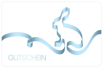 Gutschein Osterhase Schleifenband blau