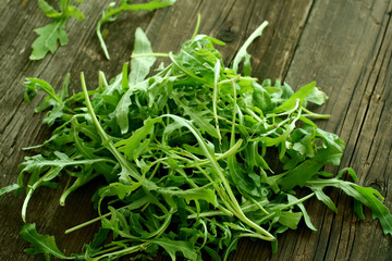 fresh rucola on old wooden boards