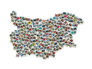 Map of Bulgaria - collage made of travel photos with famous bulg