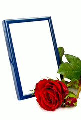 Blue photo frame with red rose