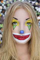young beautiful clown girl