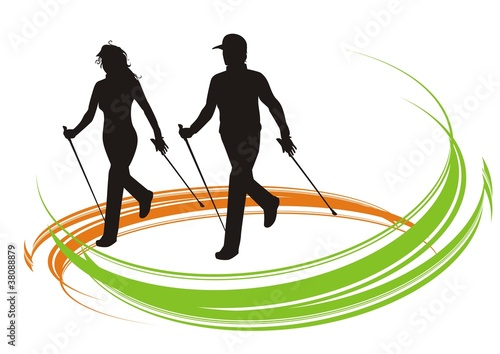 """""""nordic walking color"""" Stock image and royalty-free vector ..."""