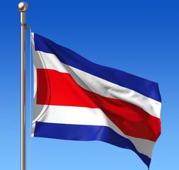 Flag of Costa Rica against blue sky