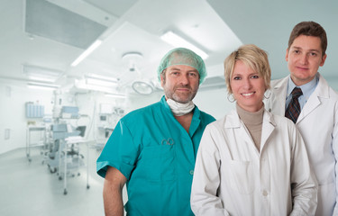 Happy Medical team at operating room