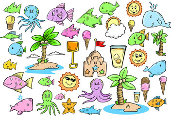 Ocean Beach Summer Vector Design Elements Set