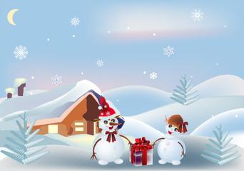 two snowmen near small house